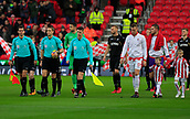 2nd December 2017, bet365 Stadium, Stoke-on-Trent, England; EPL Premier League football, Stoke City versus Swansea City;  Referee Craig Pawson leads the teams onto the field