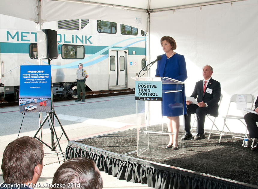 Senator Dianne Feinstein speaking at a Metrolink press conference, Union Station, Los Angeles.