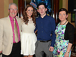 Sean O'Brien celebrating his 21st birthday in the Thatch with parents PJ and Carmel and girlfriend Shauna Flood. Photo:Colin Bell/pressphotos.ie
