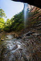 Hemmed-In-Hollow Falls is a single drop waterfall located within the Ponca Wilderness Area of the Buffalo National River in northern Arkansas. The height of the falls is 209 feet, it is the &quot;Tallest waterfall between the Rockies and Appalachians.&quot;<br /> <br /> The Falls are situated in Hemmed-In Hollow, a small valley closed-in on three sides by 200+ foot bluffs. <br /> <br /> For most of the year the flow over Hemmed-In-Hollow Falls is subdued. As one looks upward, the water breaks into thousands of individual water droplets. Wind swirling in the canyon causes the falls to continually dance about. During times of heavy rain, typically during late Winter or early Spring, water spills heavily off the cliff. <br /> A rare opportunity for a floatrip on the Buffalo National River during the fall.  The river is usually nearly dry this time of year.  The Buffalo National River flows free over swift running rapids and quiet pools for its 135-mile length. One of the few remaining rivers in the lower 48 states without dams, the Buffalo cuts its way through massive limestone bluffs traveling eastward through the Arkansas Ozarks and into the White River