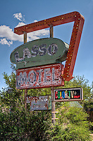 The Lasso Motel sign on Route 66, in Tucumcari New Mexico.  The old historic motel was demolshed at the end of 2009.