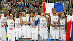 "national basketball team players Johan Petro, Thomas Heurtel, Charles Kahudi, Joffrey Lauvergne, Nicolas Batum, Nando De Colo, Boris Diaw, Tony Parker and Florent Pietrus after European basketball championship ""Eurobasket 2013""  final game between France and Lithuania in Stozice Arena in Ljubljana, Slovenia, on September 22. 2013. (credit: Pedja Milosavljevic  / thepedja@gmail.com / +381641260959)"