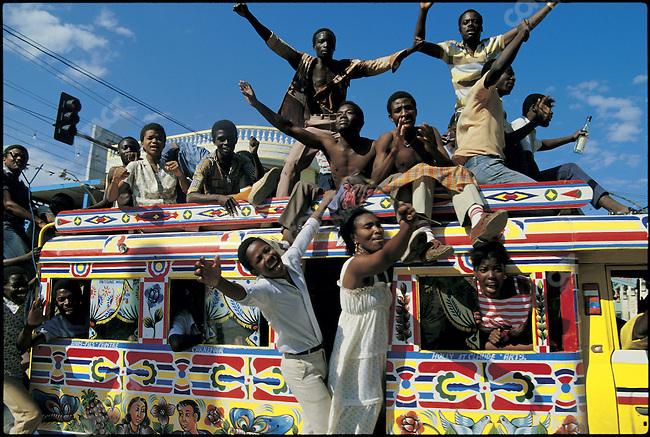 "Celebrating the fall of ""Baby Doc"" Duvalier. Port-au-Prince, Haiti, February, 1986"