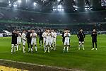 01.12.2019, Volkswagen Arena, Wolfsburg, GER, 1.FBL, VfL Wolfsburg vs SV Werder Bremen<br /> <br /> DFL REGULATIONS PROHIBIT ANY USE OF PHOTOGRAPHS AS IMAGE SEQUENCES AND/OR QUASI-VIDEO.<br /> <br /> im Bild / picture shows<br /> Werder Bremen bejubelt Auswärtssieg bei VfL Wolfsburg, <br /> <br /> Foto © nordphoto / Ewert