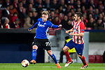Viktor Fischer (L) of FC Copenhague competes for the ball with Jorge Resurreccion Merodio, Koke, of Atletico de Madrid  during the UEFA Europa League 2017-18 Round of 32 (2nd leg) match between Atletico de Madrid and FC Copenhague at Wanda Metropolitano  on February 22 2018 in Madrid, Spain. Photo by Diego Souto / Power Sport Images