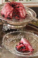 Close up of a summer pudding prepared by chef Maddalena Caruso served in a glass plate commemorating the coronation of King George VI