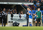 St Johnstone v Rosenborg....25.07.13  Europa League Qualifier<br /> Tommy Wright congratulates Stevie May as he is subbed, Rosenborg boss Per Joar Hansen looks on<br /> Picture by Graeme Hart.<br /> Copyright Perthshire Picture Agency<br /> Tel: 01738 623350  Mobile: 07990 594431