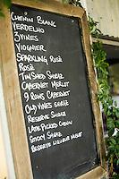 Wine list at Lancaster Wines in the Swan Valley - near Perth, Western Australia, AUSTRALIA.