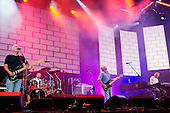 Pink Floyd - L-R: David Gilmour, Nick Mason, Roger Waters, Rick Wright -  on stage together for the first time in 20 years performing live at the Live 8 concert in Hyde Park, London UK -  02 July 2005.   Photo credit: George Chin/IconicPix