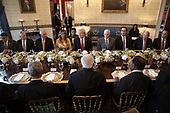 United States President Donald Trump (C), flanked by first lady Melania Trump (L) and Vice President Mike Pence (R), delivers remarks before dinner with Indian Prime Minister Narendra Modi (C) at the White House June 26, 2017 in Washington, DC. Trump and Modi met earlier today in the Oval Office to discuss a range of bilateral issues. <br /> Credit: Win McNamee / Pool via CNP