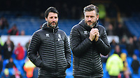 Lincoln City manager Danny Cowley, left, and Lincoln City's assistant manager Nicky Cowley during the pre-match warm-up<br /> <br /> Photographer Andrew Vaughan/CameraSport<br /> <br /> Emirates FA Cup Third Round - Everton v Lincoln City - Saturday 5th January 2019 - Goodison Park - Liverpool<br />  <br /> World Copyright &copy; 2019 CameraSport. All rights reserved. 43 Linden Ave. Countesthorpe. Leicester. England. LE8 5PG - Tel: +44 (0) 116 277 4147 - admin@camerasport.com - www.camerasport.com