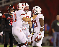 San Diego, CA - September 16, 2017:  Stanford Football vs. San Diego State at Qualcomm Stadium. Final score: San Diego State 20, Stanford 17. Bryce Love after a 51 yard touchdown run in the 2nd quarter.