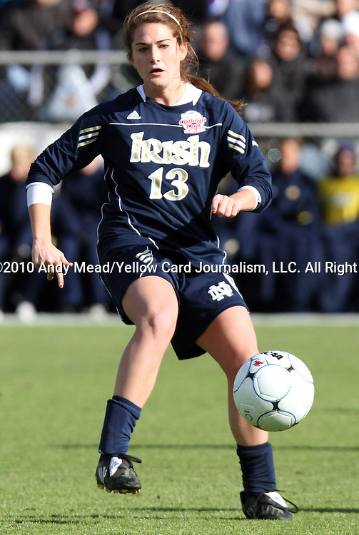 05 December 2010: Notre Dame's Courtney Barg. The Notre Dame University Fighting Irish defeated the Stanford University Cardinal 1-0 at WakeMed Stadium in Cary, North Carolina in the 2010 NCAA Women's College Cup Championship Game.