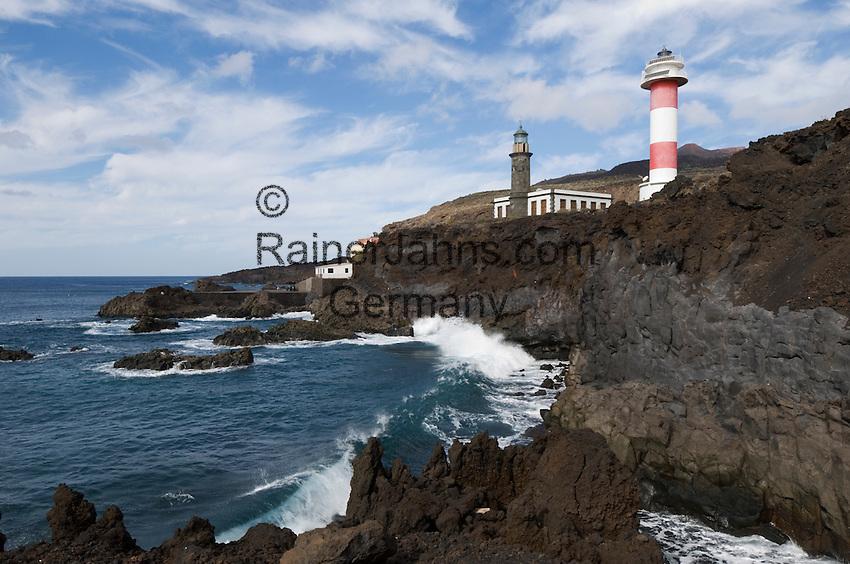 Spain, Canary Islands, La Palma, the southernmost point near Los Canarios Fuencaliente, Punta de Fuencaliente: old and new lighthouse, Faro de Fuencaliente