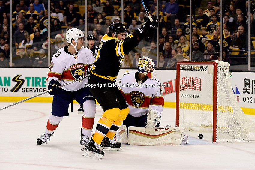 Monday, December 5, 2016: Boston Bruins right wing David Backes (42) reacts to his goal against Florida Panthers goalie Roberto Luongo (1) during the National Hockey League game between the Florida Panthers and the Boston Bruins held at TD Garden, in Boston, Mass. Boston defeats Florida 4-3 in overtime. Eric Canha/CSM