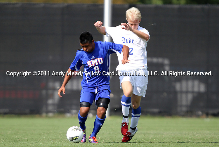 04 September 2011: SMU's Damian Rosales (8) and Duke's Ryan Brown (22). The Southern Methodist University Mustangs defeated the Duke University Blue Devils 1-0 in overtime at Koskinen Stadium in Durham, North Carolina in an NCAA Division I Men's Soccer game.