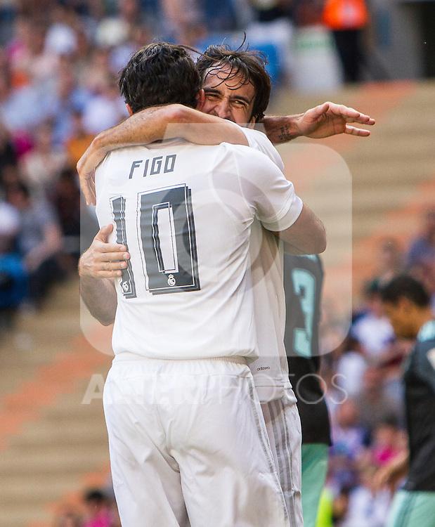 Luis Figo and Raul Gonzalez during the Corazon Classic Match 2016 at Estadio Santiago Bernabeu between Real Madrid Legends and Ajax Legends. Jun 5,2016. (ALTERPHOTOS/Rodrigo Jimenez)