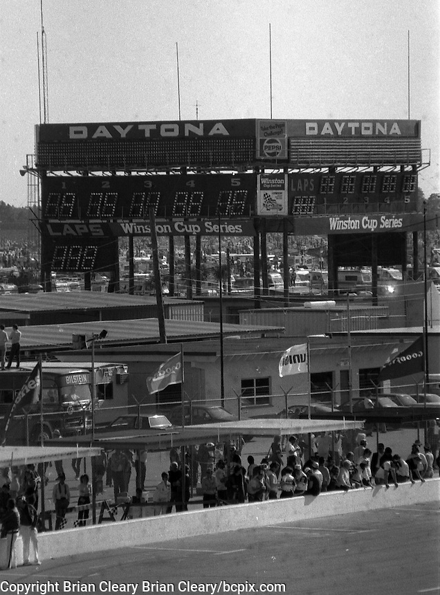 Old scoring tower Daytona 500 at Daytona International Speedway in Daytona Beach, FL in February 1985. (Photo by Brian Cleary/www.bcpix.com) Daytona 500, Daytona International Speedway, Daytona Beach, FL, February 1985. (Photo by Brian Cleary/www.bcpix.com)
