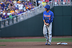 OMAHA, NE - JUNE 26: Dalton Guthrie (5) of the University of Florida holds his hand and grimaces in pain after being called out at second base against Louisiana State University during the Division I Men's Baseball Championship held at TD Ameritrade Park on June 26, 2017 in Omaha, Nebraska. The University of Florida defeated Louisiana State University 4-3 in game one of the best of three series. (Photo by Jamie Schwaberow/NCAA Photos via Getty Images)