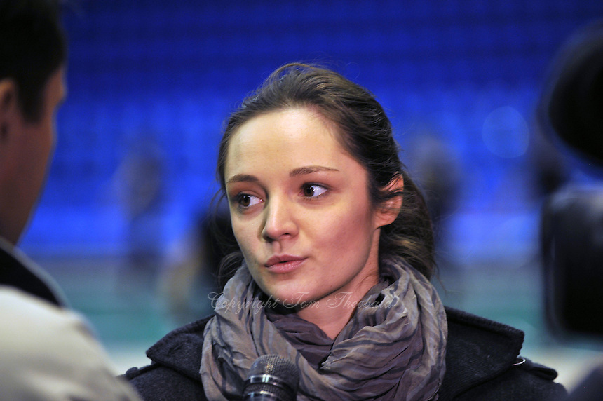 "Anna Bessonova of Ukraine interviews with tv press before 2011 World Cup Kiev, ""Deriugina Cup"" in Kiev, Ukraine on May 05, 2011."