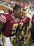 Florida State's Jalen Ramsey, right, celebrates with Karlos Williams in the endzone after Williams game winning touchdown in overtime of an NCAA college football game against Clemson in Tallahassee, Fla., Saturday, Sept. 20, 2014.  Florida State defeated Clemson 23-17 in overtime.  (AP Photo/Mark Wallheiser)