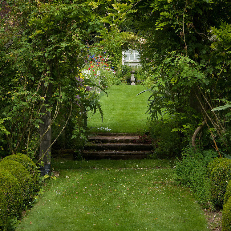 Upton Grey, the old kitchen garden, looking north towards the greenhouse, mid July.