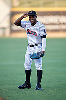Birmingham Barons center fielder Tito Polo (18) warms up before a game against the Pensacola Blue Wahoos on May 8, 2018 at Regions FIeld in Birmingham, Alabama.  Birmingham defeated Pensacola 5-2.  (Mike Janes/Four Seam Images)
