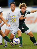 Florida International University Golden Panthers against Stetson at Miami, Florida on Sunday, September 23, 2007.  The Golden Panthers won, 2-1...FIU freshman midfielder Kassandra Sorzano (Miami, Fla.) (10) fights off Stetson junior forward Stephanie Webb (16) in the second half.