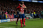 Atletico de Madrid's Jose Maria Gimenez (L) and Alvaro Morata (R) celebrate goal during UEFA Champions League match, Round of 16, 1st leg between Atletico de Madrid and Juventus at Wanda Metropolitano Stadium in Madrid, Spain. February 20, 2019. (ALTERPHOTOS/A. Perez Meca)