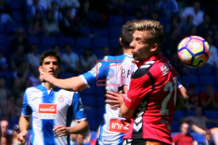 League Santander 2016/2017. Game: 31.<br /> RCD Espanyol vs Deportivo Alaves: 1-0.<br /> Pablo Piatti vs Kiko Femenia.