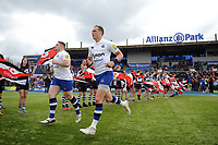 James Wilson and the rest of the Bath Rugby team run onto the field. Aviva Premiership match, between Saracens and Bath Rugby on April 15, 2018 at Allianz Park in London, England. Photo by: Patrick Khachfe / Onside Images