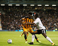 Neeskens Kebano of Fulham closes down Ola Aina of Hull City (on loan from Chelsea) during the Sky Bet Championship match between Fulham and Hull City at Craven Cottage, London, England on 13 September 2017. Photo by Carlton Myrie.
