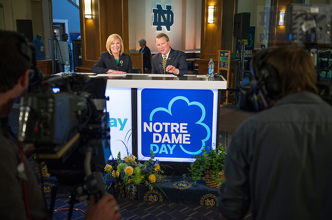Apr 28, 2014; Live broadcast of Notre Dame Day in the main lounge of LaFortune Student Center. Photo by Barbara Johnston/University of Notre Dame