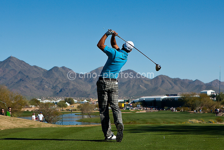 Jan 31, 2009; Scottsdale, AZ, USA; James Nitties (AUS) hits his tee shot on 15th tee during the third round of the FBR Open at the TPC Scottsdale.