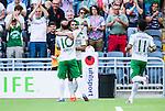 Stockholm 2014-07-20 Fotboll Superettan Hammarby IF - &Ouml;sters IF :  <br /> Hammarbys Lars Mendonca Fuhre har gjort 2-0 och jublar med Kennedy Bakircioglu framf&ouml;r Hammarbys publik<br /> (Foto: Kenta J&ouml;nsson) Nyckelord:  Superettan Tele2 Arena Hammarby HIF Bajen &Ouml;ster &Ouml;IF jubel gl&auml;dje lycka glad happy