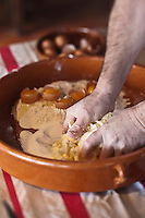 Europe/France/Aquitaine/64/Pyrénées-Atlantiques/Pays Basque/Sare: Préparation du  gâteau basque au Musée du Gateau Basque // France, Pyrenees Atlantiques, Basque Country, Sare:  Preparation of the Basque cake , Gateau Basque Museum