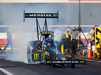 Nov 9, 2018; Pomona, CA, USA; NHRA top fuel driver Brittany Force during qualifying for the Auto Club Finals at Auto Club Raceway. Mandatory Credit: Mark J. Rebilas-USA TODAY Sports