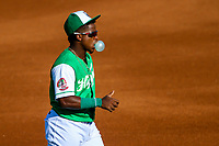 Jackson Generals second baseman Domingo Leyba (3) blows a bubble prior to a Southern League game against the Biloxi Shuckers on July 27, 2018 at The Ballpark at Jackson in Jackson, Tennessee. Biloxi defeated Jackson 15-7. (Brad Krause/Four Seam Images)