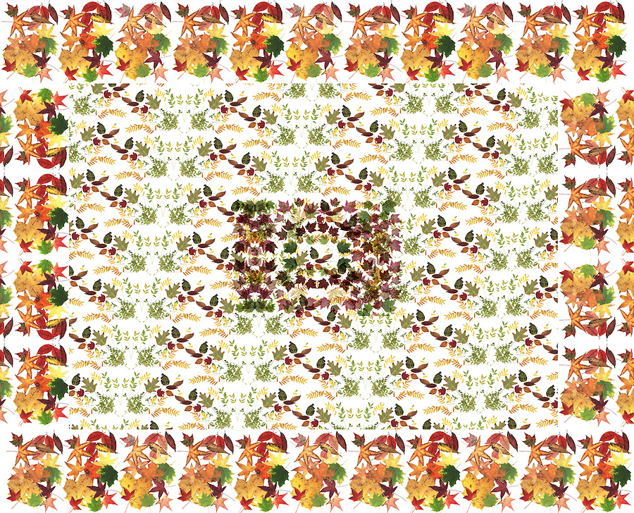Fall leaves in a quasi quilt pattern.