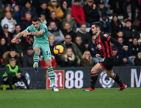 Arsenal's Granit&nbsp;Xhaka (left) crosses the ball despite the attentions of Bournemouth's Lewis Cook (right) <br /> <br /> Photographer David Horton/CameraSport<br /> <br /> The Premier League - Bournemouth v Arsenal - Sunday 25th November 2018 - Vitality Stadium - Bournemouth<br /> <br /> World Copyright &copy; 2018 CameraSport. All rights reserved. 43 Linden Ave. Countesthorpe. Leicester. England. LE8 5PG - Tel: +44 (0) 116 277 4147 - admin@camerasport.com - www.camerasport.com