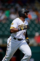 Bradenton Marauders right fielder Gregory Polanco (48), on rehab assignment from the Pittsburgh Pirates, runs to first base during a Florida State League game against the Charlotte Stone Crabs on April 10, 2019 at LECOM Park in Bradenton, Florida.  Bradenton defeated Charlotte 2-1.  (Mike Janes/Four Seam Images)