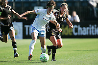 Megan Rapinoe (left) tries to maintain controls against Kristen Graczyk (right). FC Gold Pride tied the Chicago Red Stars 1-1 at Buck Shaw Stadium in Santa Clara, California on June 7th, 2009.