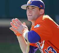 Infielder Brad Miller (13) of the Clemson Tigers prior to a game against the Michigan State Spartans Saturday, Feb. 20, 2010, at Fluor Field at the West End in Greenville, S.C. Miller is ranked No. 29 on Baseball America's list of top college sophomore prospects. Photo by: Tom Priddy/Four Seam Images