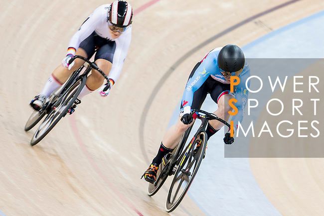 Kate O'Brien of Canada and Kristina Vogel of Germany compete in the Women's Sprint - 1/8 Final as part of the 2017 UCI Track Cycling World Championships on 13 April 2017, in Hong Kong Velodrome, Hong Kong, China. Photo by Chris Wong / Power Sport Images