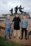 Dany Verlinden with his son Thibaud Verlinden  and their agent in front of the Sir Stanley Matthews statue at the Britannia Stadium -  Football - Barclays Premier League - Stoke City
