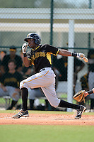 Pittsburgh Pirates second baseman Alen Hanson (25) during an Instructional League intersquad scrimmage on September 29, 2014 at the Pirate City in Bradenton, Florida.  (Mike Janes/Four Seam Images)
