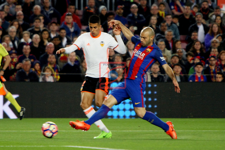 League Santander 2016/2017. Game: 28.<br /> FC Barcelona vs Valencia CF: 4-2.<br /> Joao Cancelo vs Javier Mascherano.
