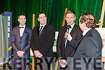 Kerry Stars Marc, Darragh and Tomás Ó Sé being interviewed by Marty Morrissey at the Kerry GAA Gala Celebration in the INEC on Saturday night when they were presented with paintings by Patrick O'Sullivan.