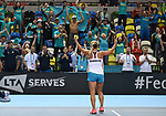 Yulia Putintseva (Kazakhstan) celebrates with her fans. Rubber 2. Great Britain v Kazakhstan. World group II play off in the BNP Paribas Fed Cup. Copper Box arena. Queen Elizabeth Olympic Park. Stratford. London. UK. 20/04/2019. ~ MANDATORY Credit Garry Bowden/Sportinpictures - NO UNAUTHORISED USE - 07837 394578
