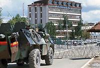 - Kosovo, armored vehicle of the French army  patrol Mitroviza town<br /> <br /> - Kossovo, veicolo blindato dell'esercito francese in pattuglia nella città di Mitroviza